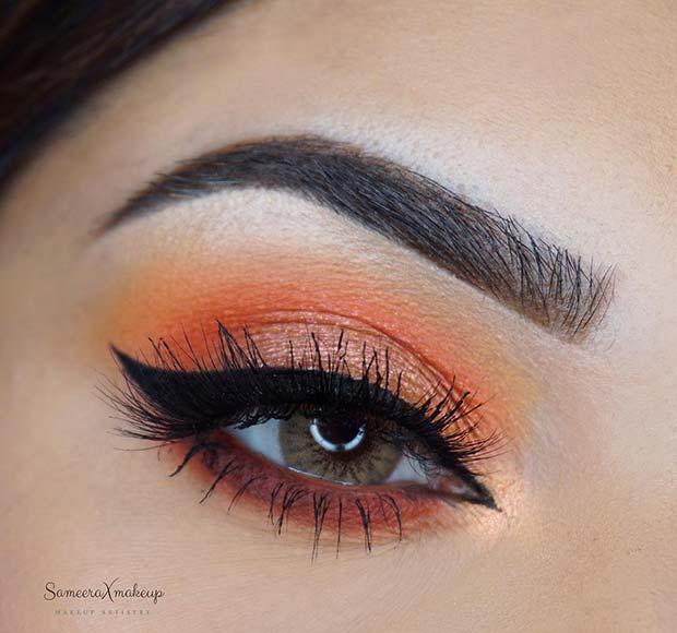 Orange Eye Makeup Idea for Prom