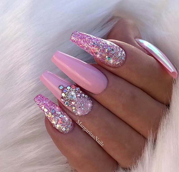 Pink, Glitter and Rhinestone Nail Design for Coffin Nails