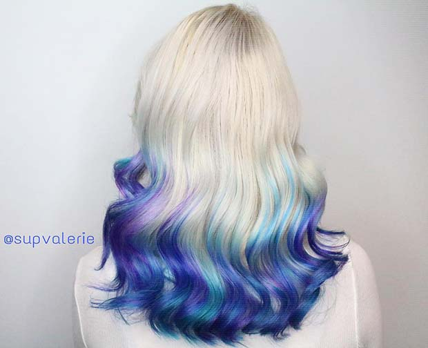 Platinum Blonde to Blue Ombre Hair