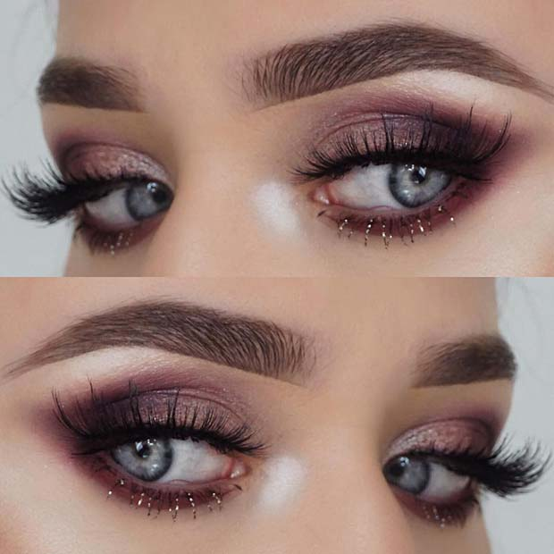 Pretty Eye Makeup with Glitter Lashes