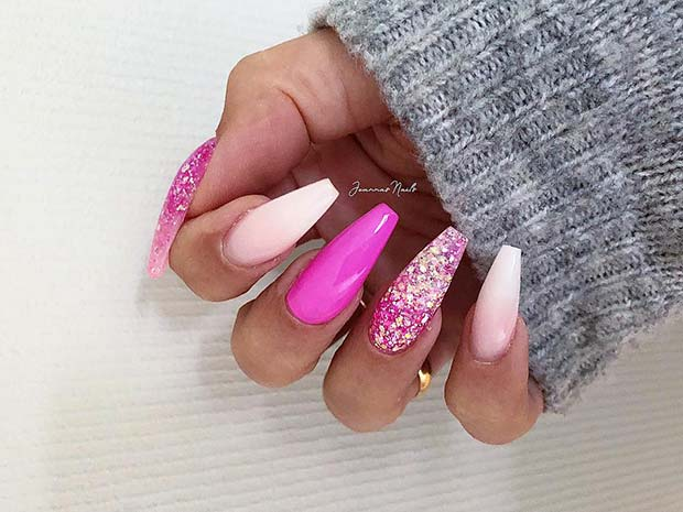 Pretty Pink and Glitter Coffin Nails