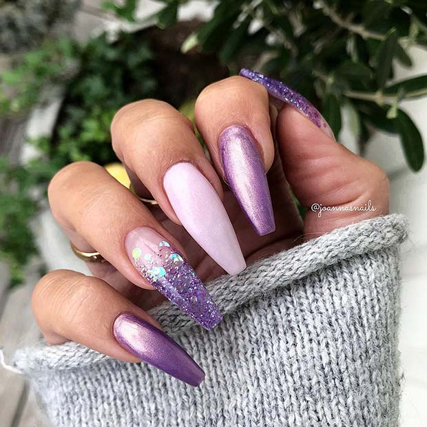 Long Purple Nails with Glitter