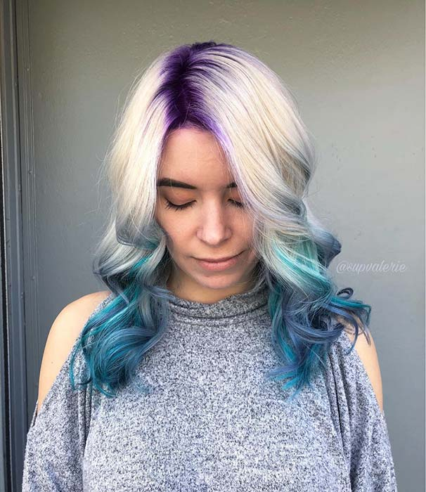 Blonde to Blue Ombre Hairwith Purple Roots