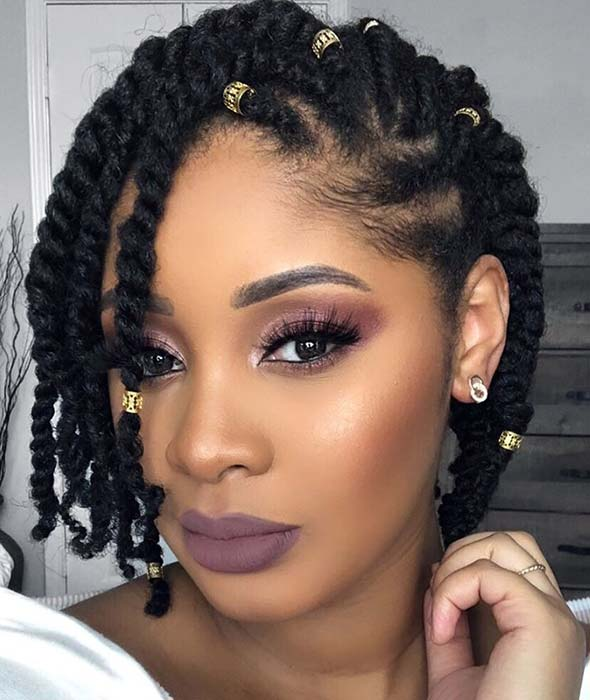 Cute Two Strand Twist Natural Hairstyle