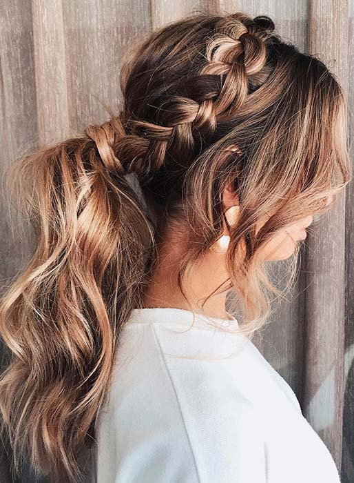 Side Braid and Messy Ponytail