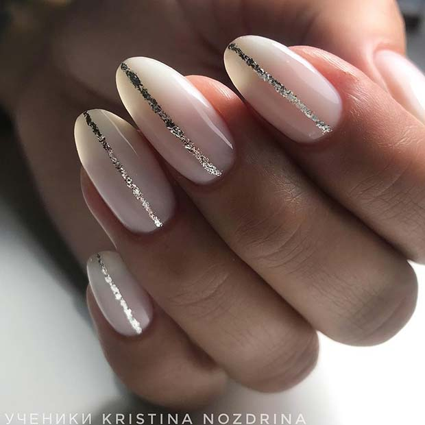 White Nails with Silver Glitter Stripes
