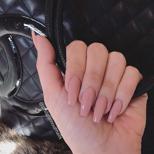 Simple Nude Coffin Nails