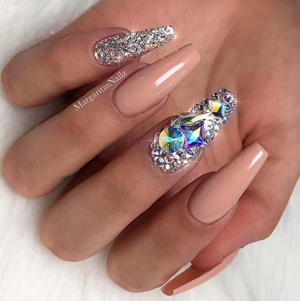 Sparkling Nude Nail Design