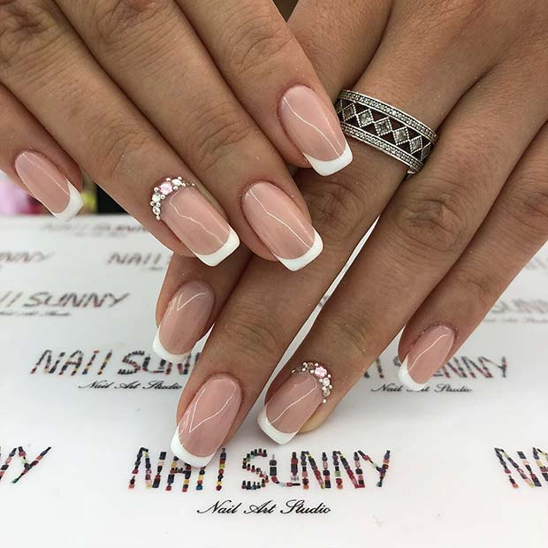 Sparkly French Manicure Nails