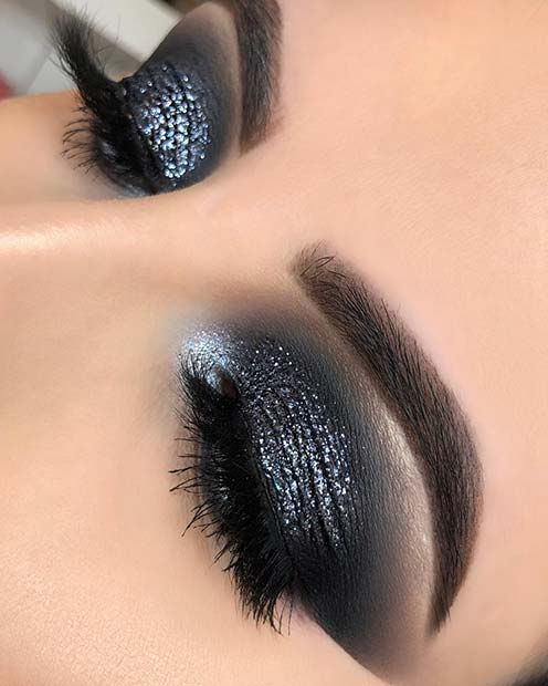 Black Sparkly Smokey Eyes