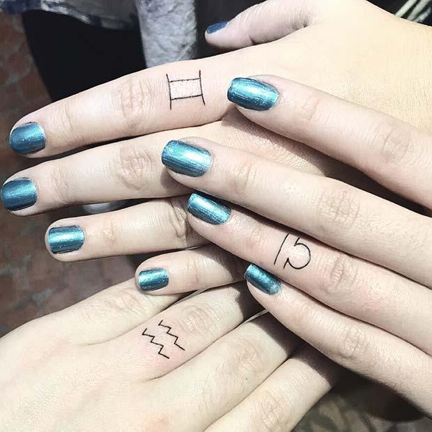 Small Star Sign Sibling Tattoos