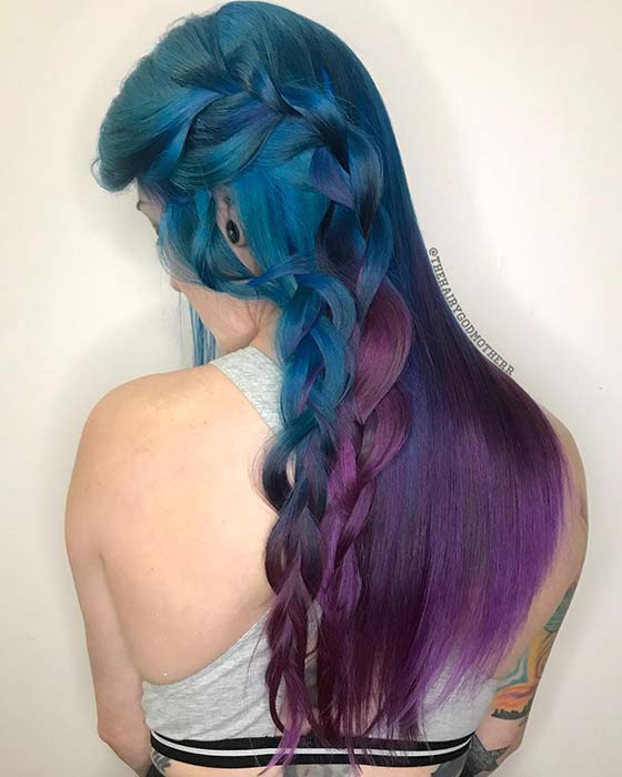 Stylish Blue to Purple Ombre Hair