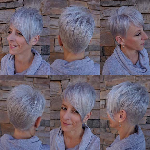 Short Grey Cut + Long Bangs