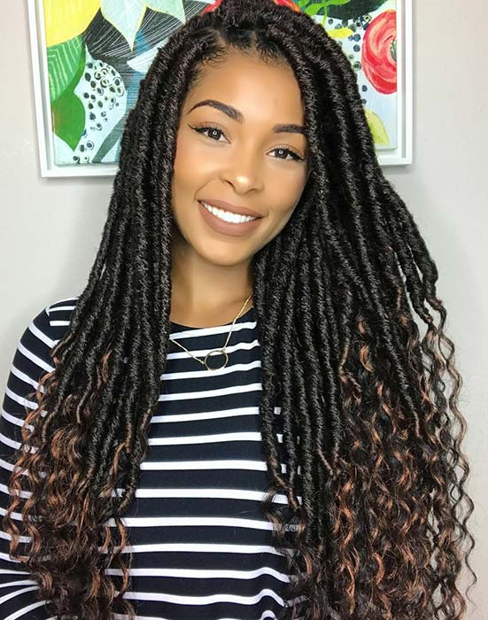 Stylish Locs with Curly Brown Ends