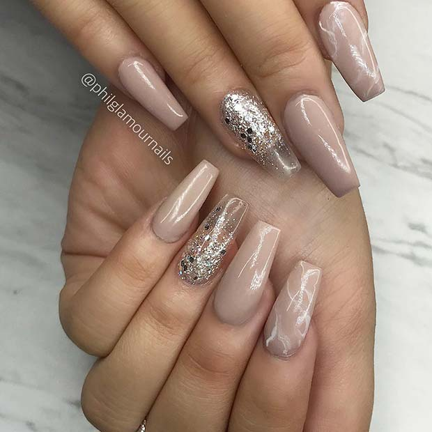 Stylish Marble and Glitter Coffin Nails