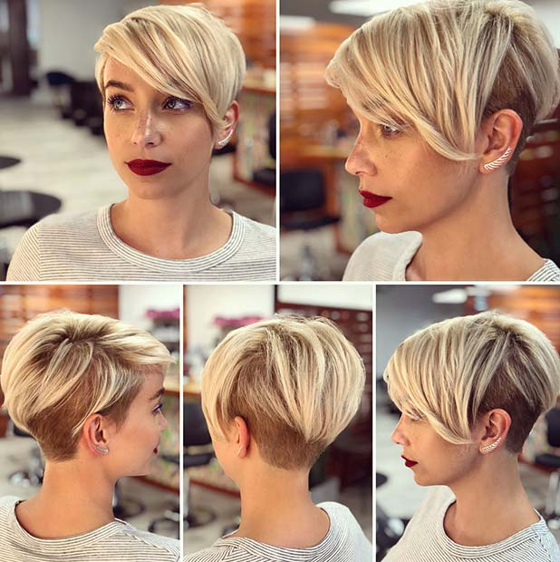 Cool, Short Blonde Hair with Bangs