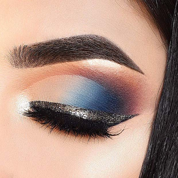 Blue Eye Makeup with Silver Liner