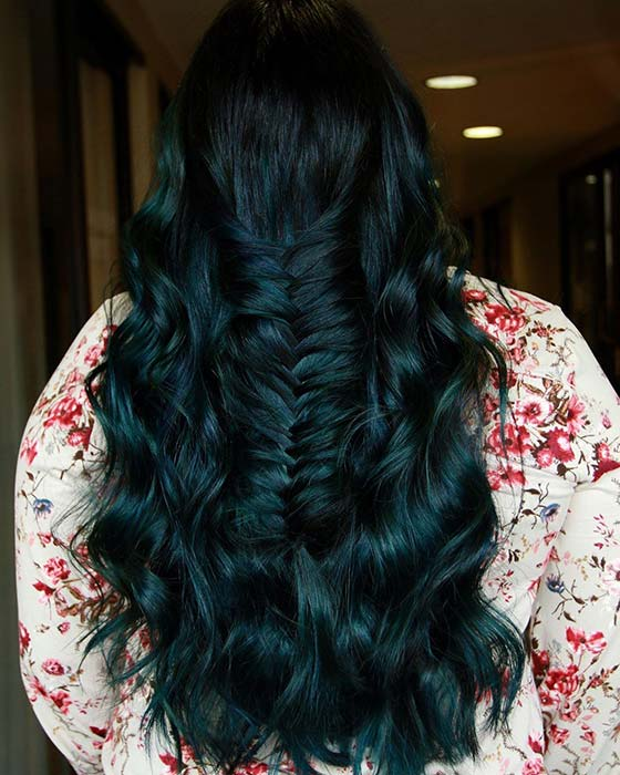 Teal Black Hair Color Idea