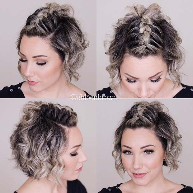 Mohawk Braid Top Knot for Short Hair