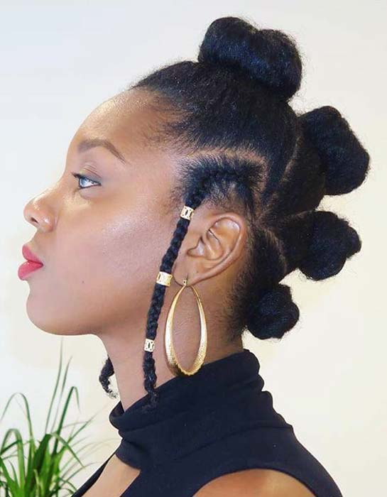 Natural Bantu Knots Updo
