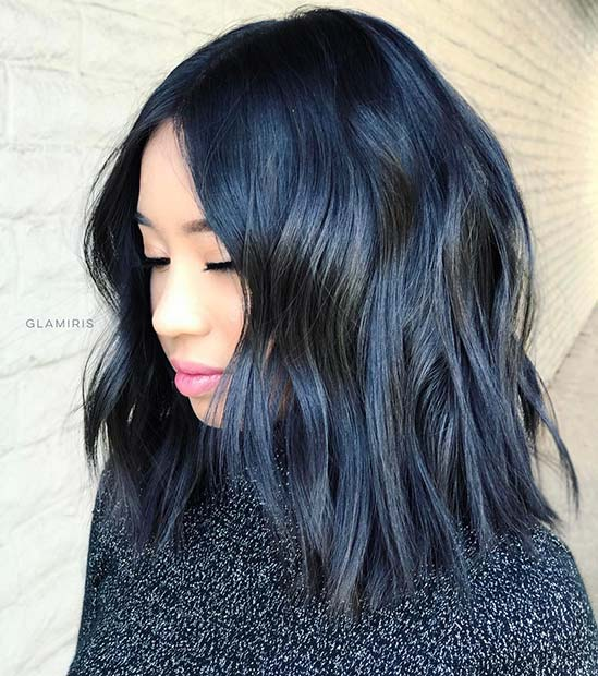 Trendy Blue Black Lob Hairstyle