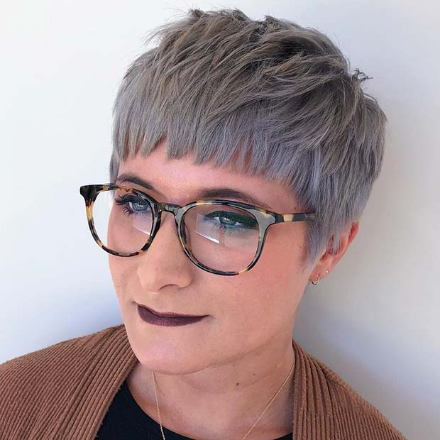 Trendy, Short Grey Hair with Bangs
