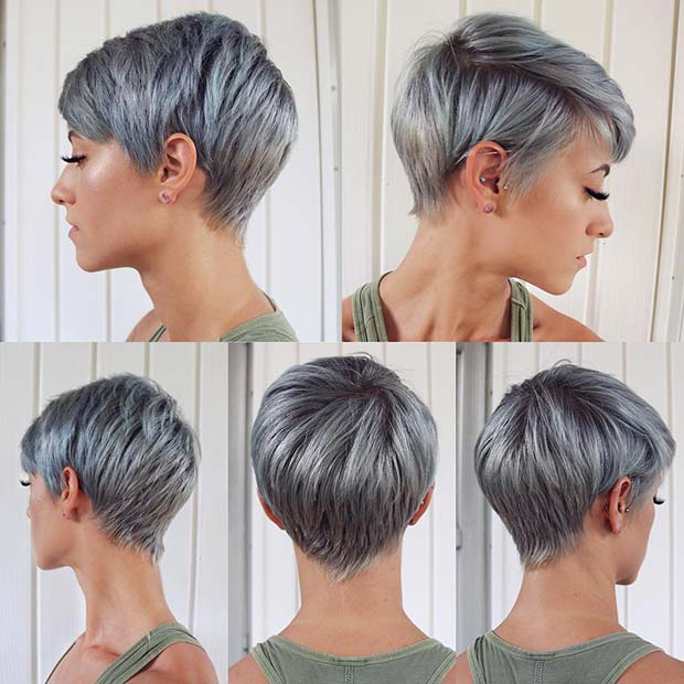 Trendy Short Grey Haircut