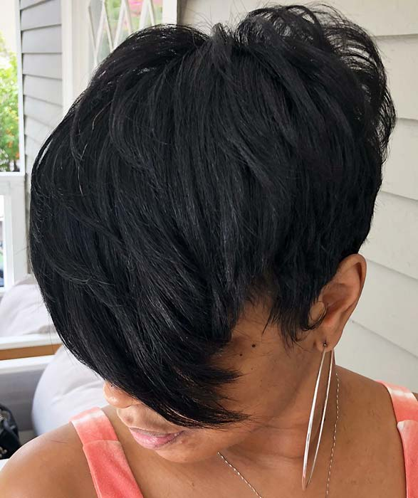 Trendy Short Cut with Side Swept Bangs