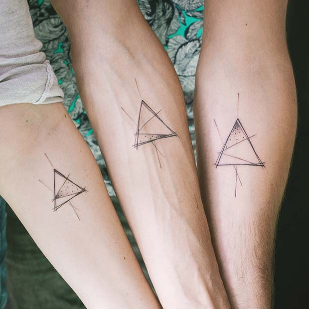 Trendy Triangle Tattoo Idea for Siblings