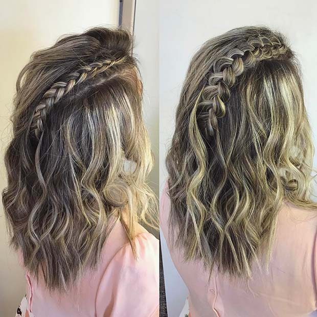 Messy Lob with a Dutch Braid