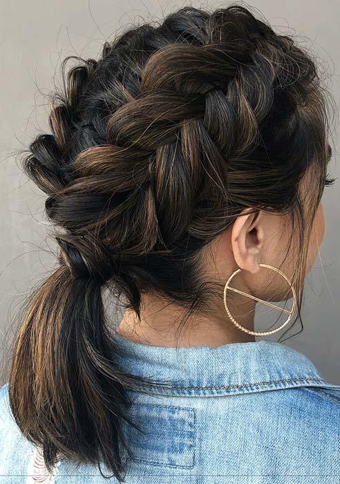 Braided Ponytail Idea for Medium Length Hair