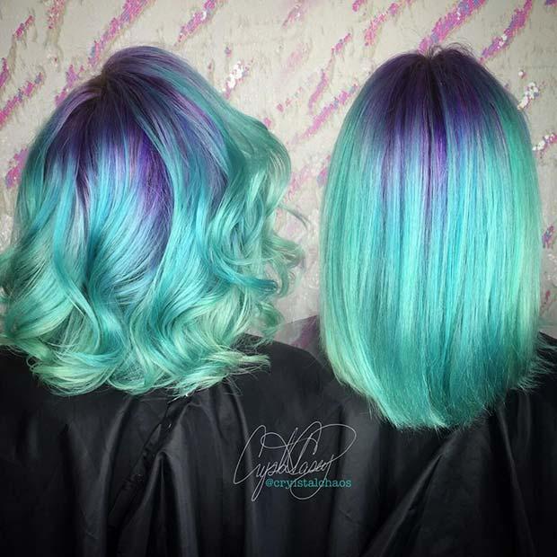 Vibrant Purple to Light Blue Hair