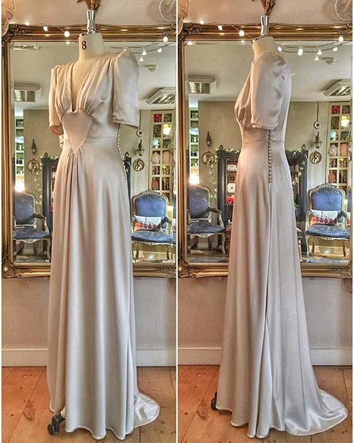 1940's Style Silver Wedding Dress