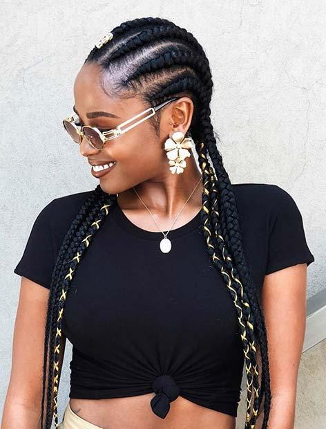 Long, Accessorized Ghana Braids
