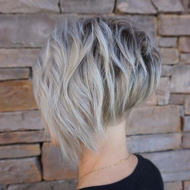 Short, Asymmetrical Stacked Bob