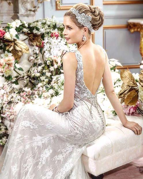 Backless Wedding Gown with Lace Details
