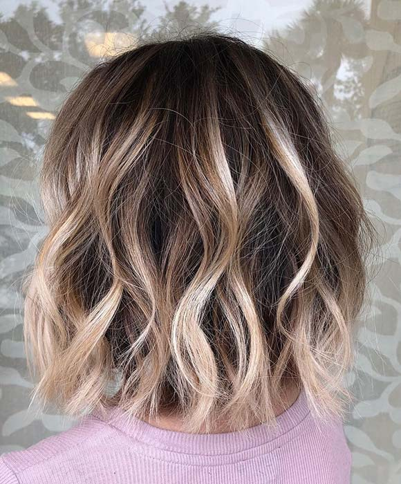 Bob Haircut with Blonde Balayage Highlights