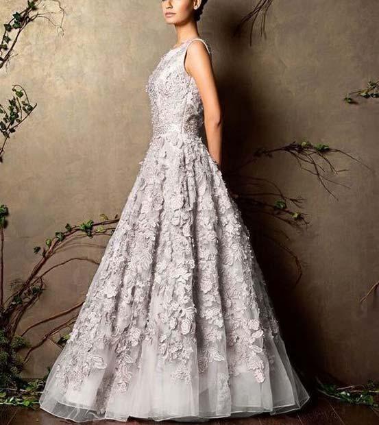Beautiful Embellished Silver Wedding Dress