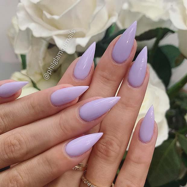 Beautiful Lavender Stiletto Nails