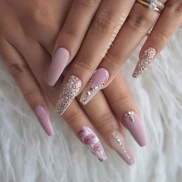 Beautiful Pink and Gold Nails