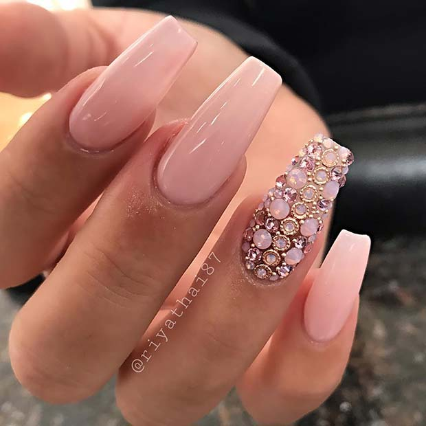 Light Pink Prom Nails with Sparkle