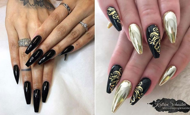 21 Bold and Edgy Black Coffin Nails | StayGlam