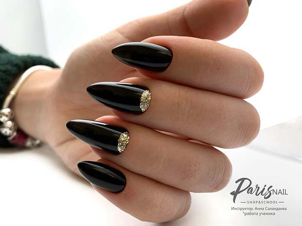 Black Nails with Chic Glitter Cuticle Design