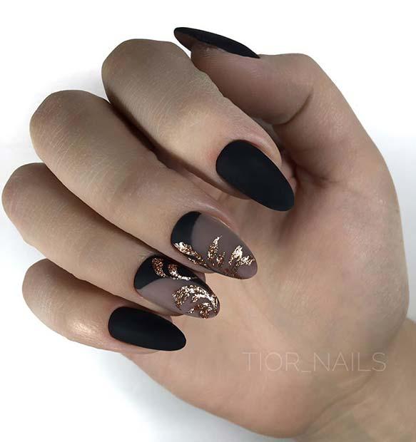 Matte Black Nails with an Elegant Gold Design