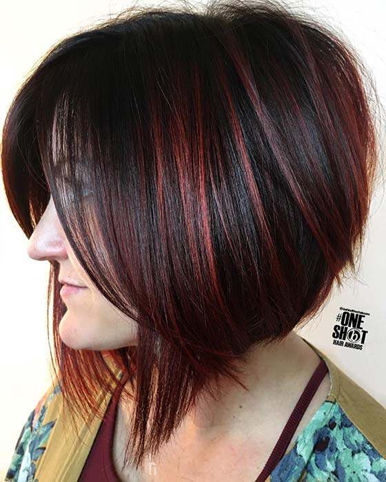 Black and Red Bob Hairstyle