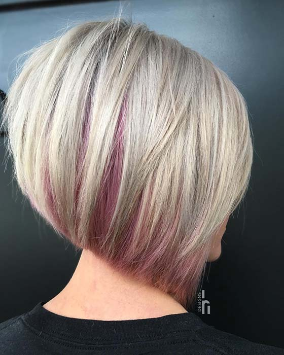 Blonde Bob with a Hint of Pink