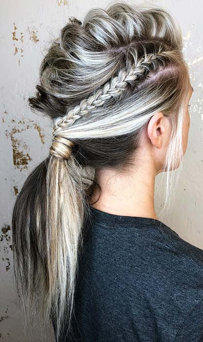 Braided Mohawk into a Ponytail