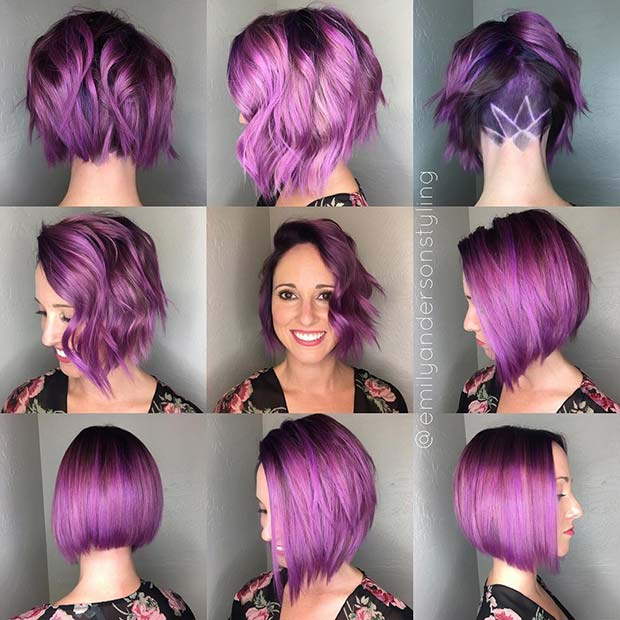 Bold Purple Bob with Shaved Pattern