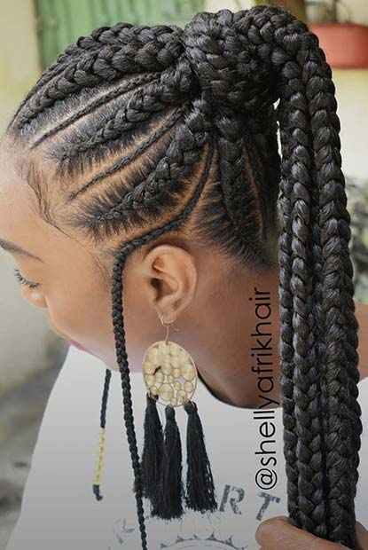 Chunky Feed in Braids in a Ponytail