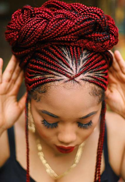 Red Feed in Braids into a Braided Updo